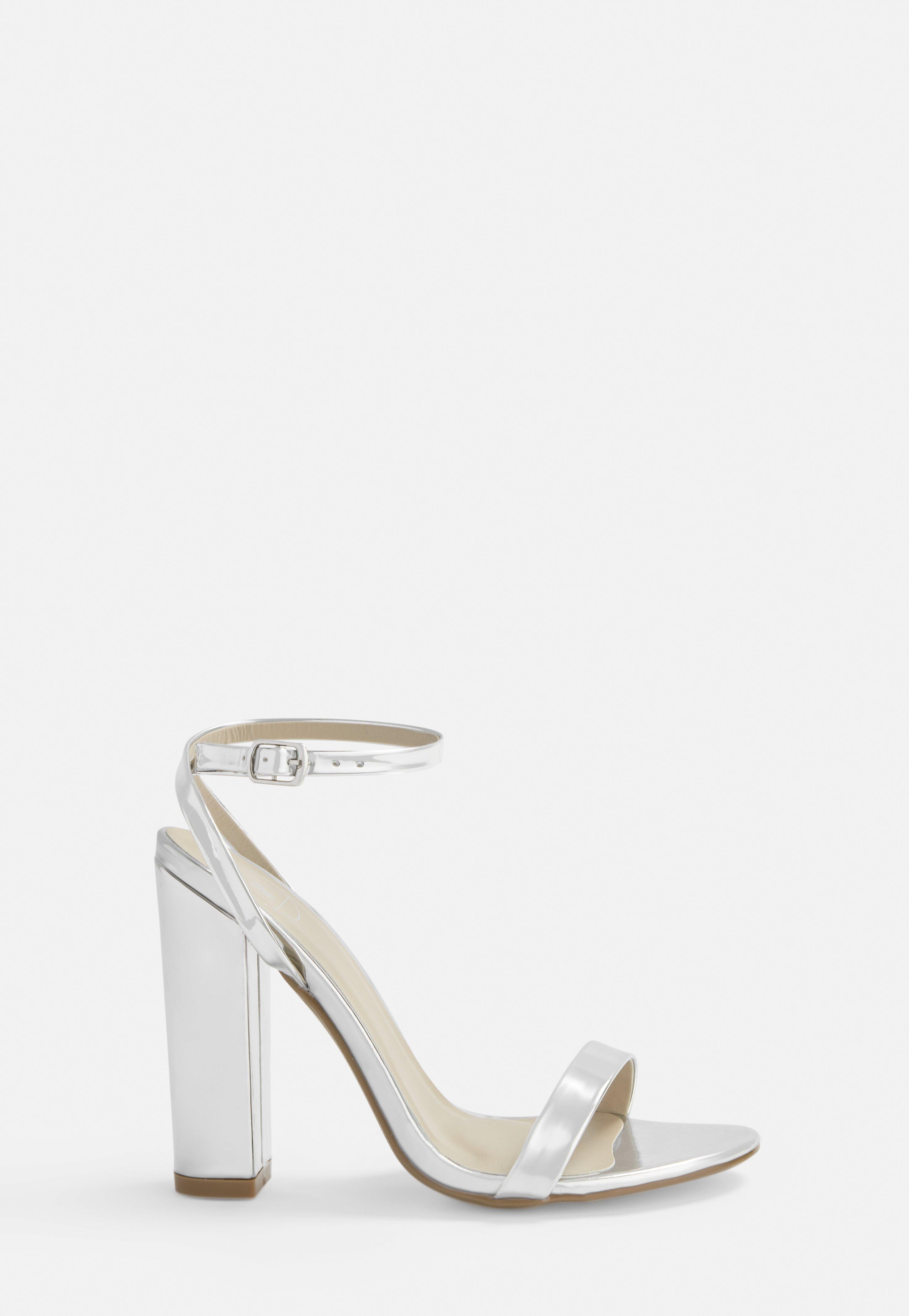 High Heel Sandalen mit Blockabsatz in Silber