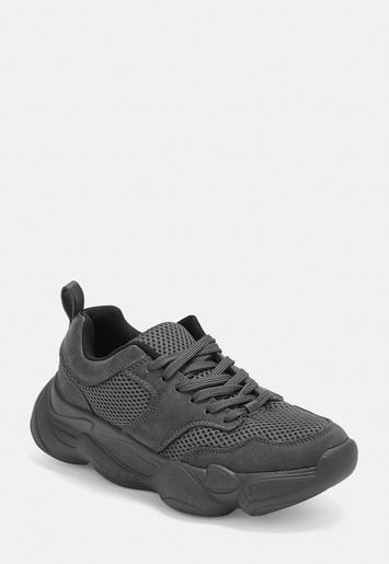 f04f52983 Gray Chunky Sole Sneakers   Missguided