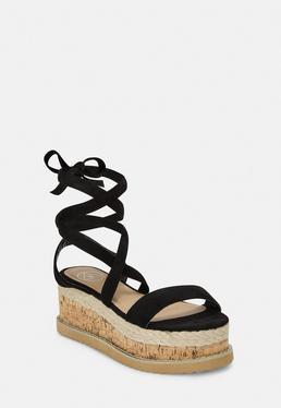 d44125549fc7 Black Faux Suede Lace Up Flatform Sandals