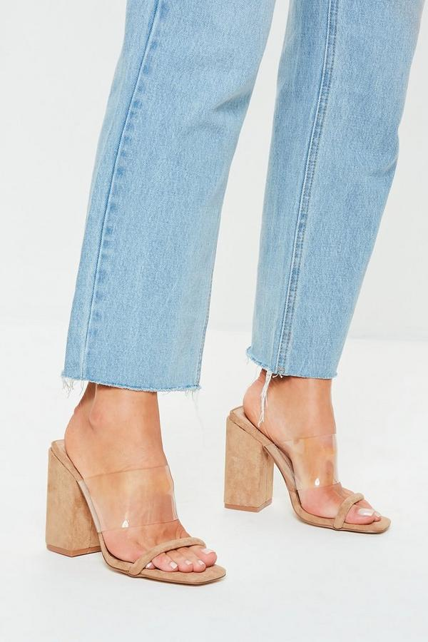 c76e163977df9 Nude Faux Suede Clear Block Heel Sandals | Missguided