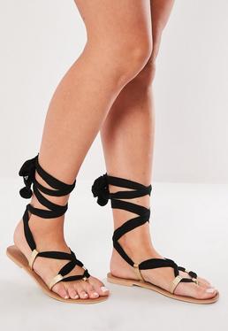 Черные кожаные сандалии на шнуровке