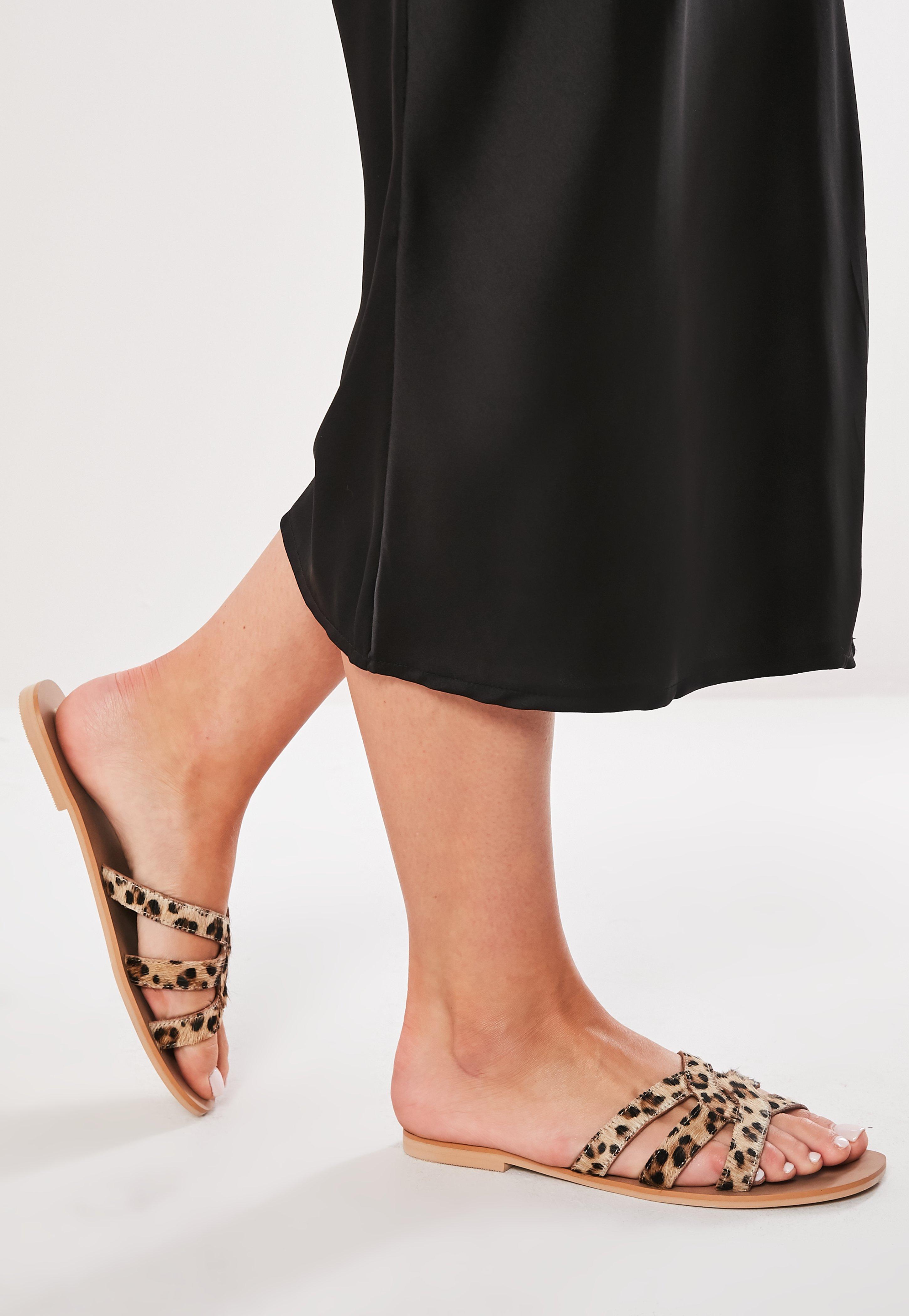 Mit Leopardenmuster Sandalen In Flache Braun 0PO8knwX