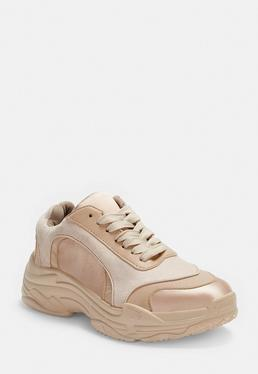 a21ba6d1c Lime Faux Leather Triangle Panel Chunky Trainers · Peach Satin Panel Chunky  Trainers