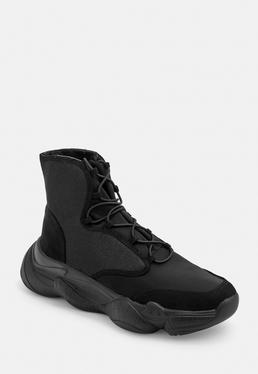 Черные легкие кроссовки с высокой сеткой