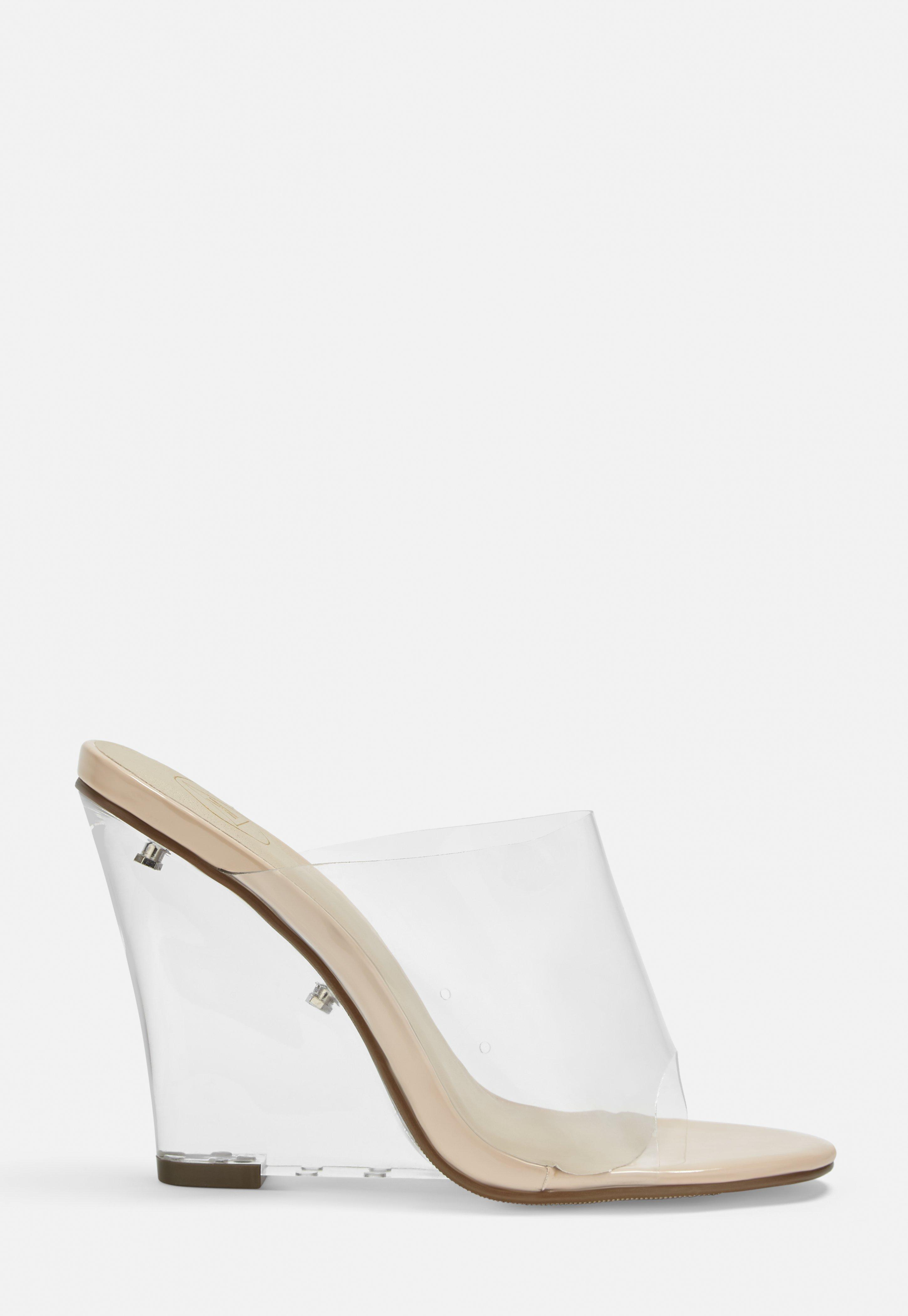 detailing nice cheap top fashion Nude Clear Wedge Peep Toe Mules