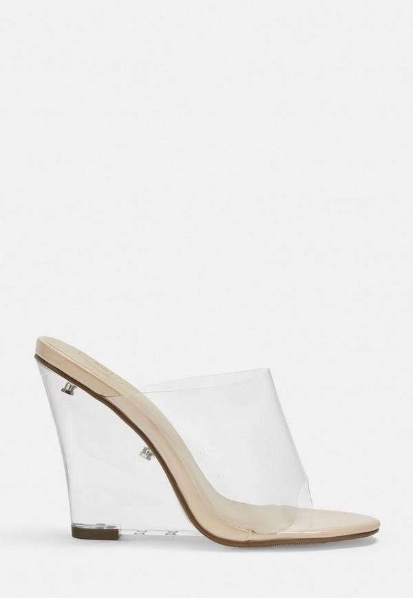 b1a03c14cf nude clear wedge peep toe mules. $70.00 · Nude Clear Ankle Strap Court Shoes