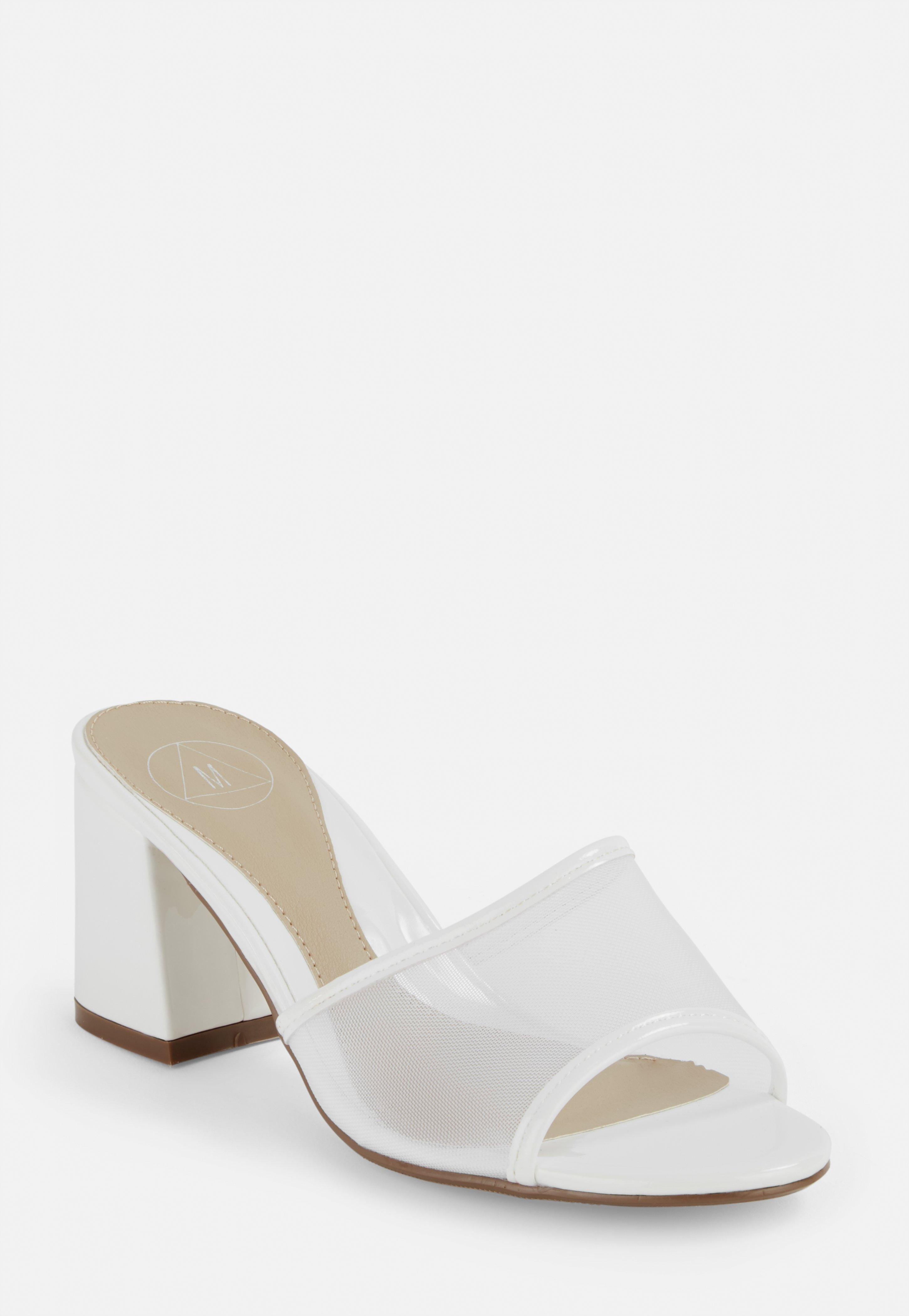 White Patent Fine Mesh Mules by Missguided