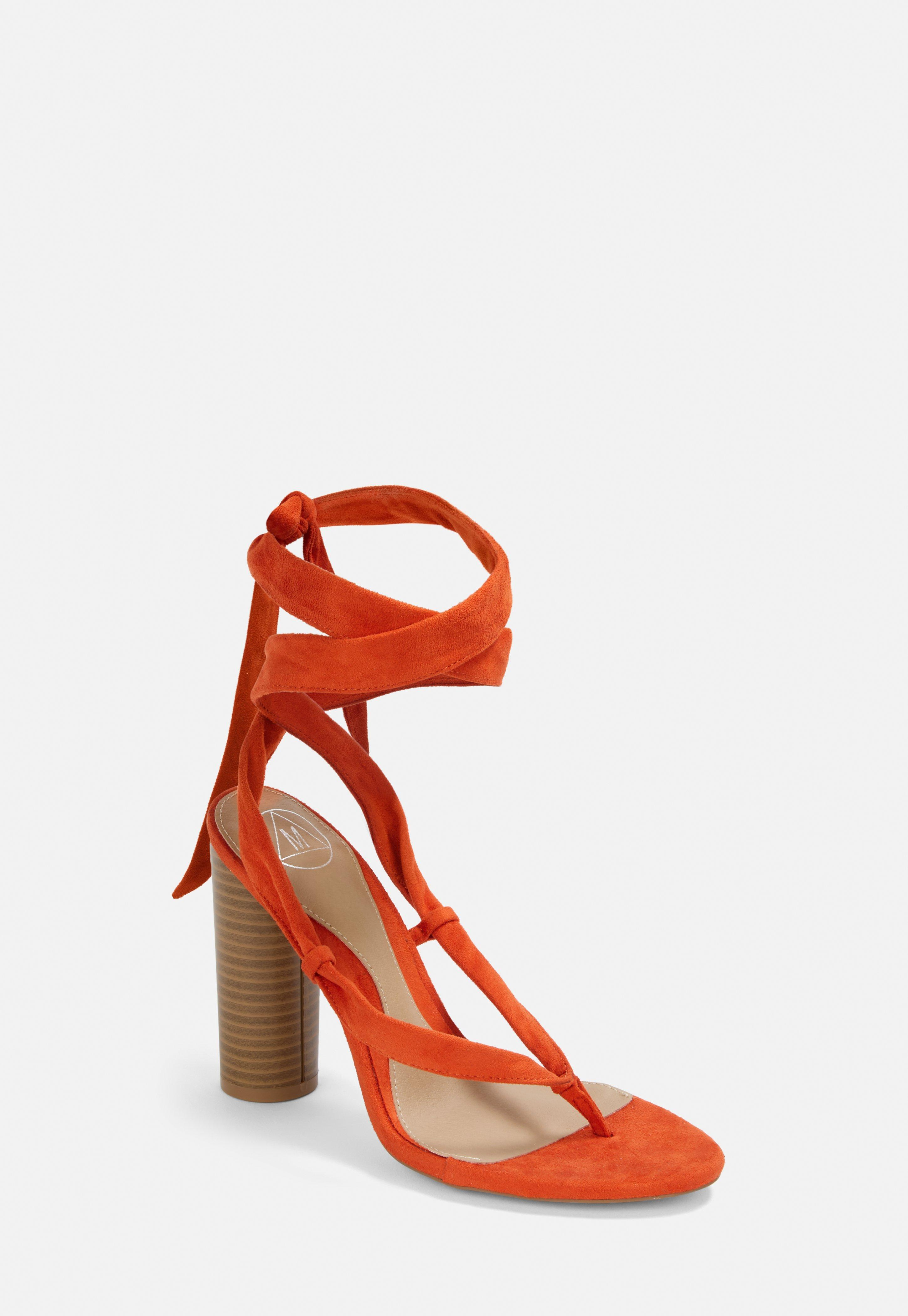 b97e53cdb8c Orange Faux Suede Wrap Toe Post Sandals