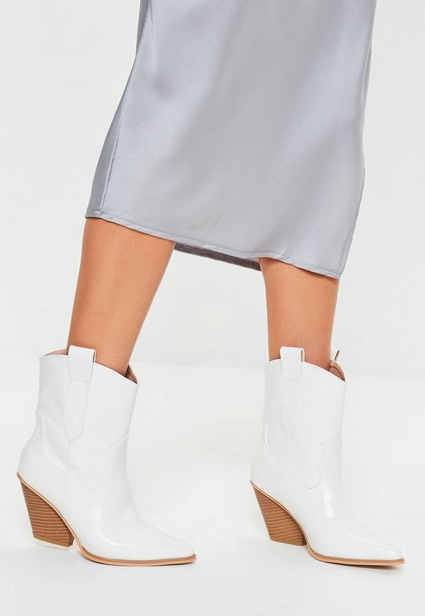 d872cd0231e ... White Patent Croc Curved Heel Cowboy Boots. Previous Next