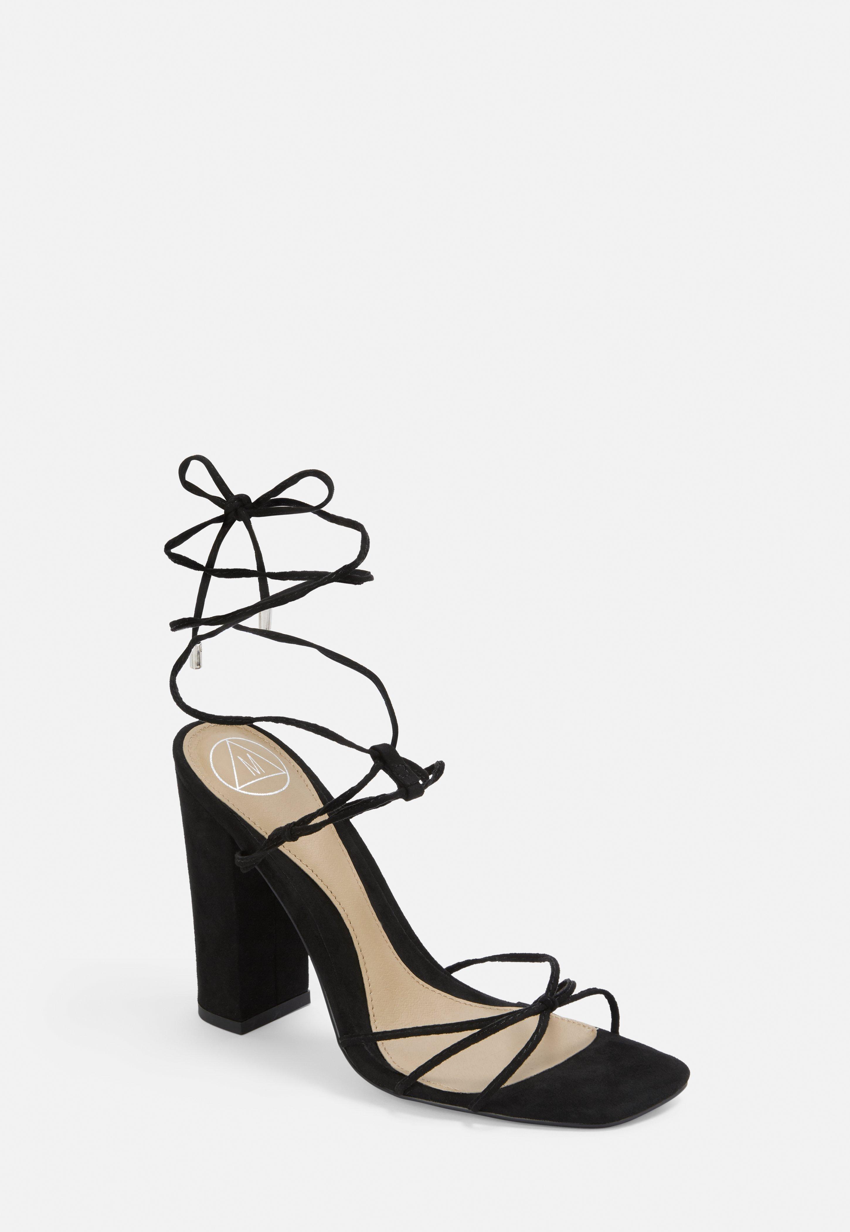 Sandals Strap Heel Tie Black Heeled Block tsQrCdh
