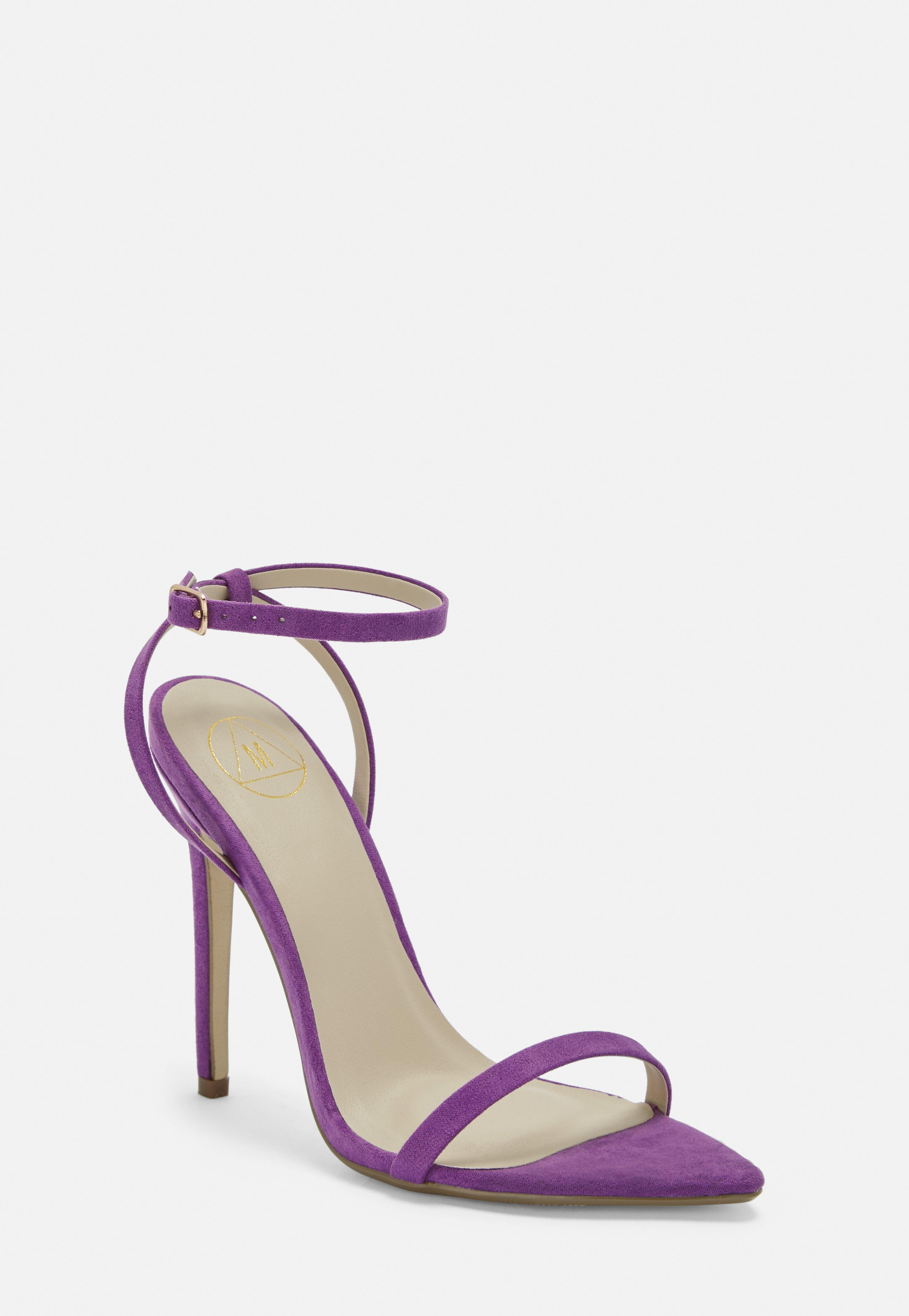 Purple Faux Suede Barely There Heels by Missguided