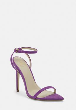 8b1377645c58 ... Purple Faux Suede Barely There Heels