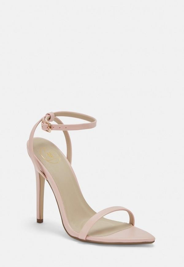 1f43df4494e3 Pink Faux Leather Barely There Heels