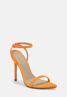 600631c57d44 Neon Orange Faux Suede Barely There Heels