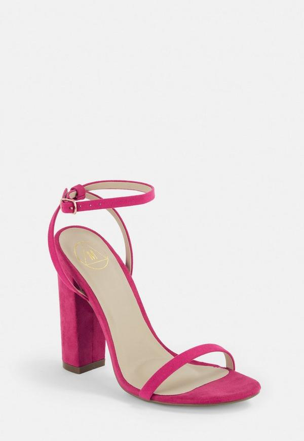 Hot Pink Faux Suede Block Heels | Missguided