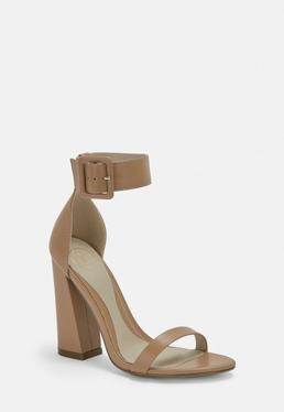 Taupe Double Strap Buckle Block Heels