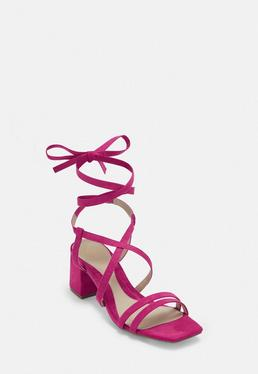 e2a80115c463 ... Pink Two Strap Lace Up Mid Heel Sandals