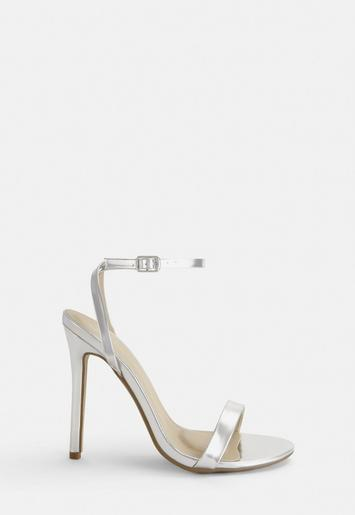5311d88b756 Silver Strappy Barely There Heels