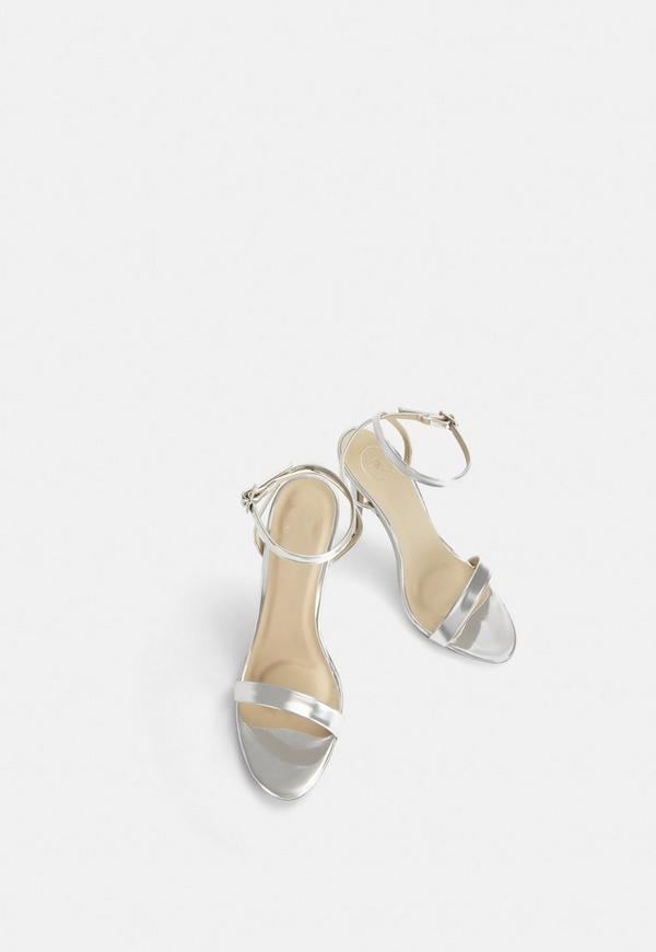 242ed4bc94e Silver Strappy Barely There Heels. Previous Next