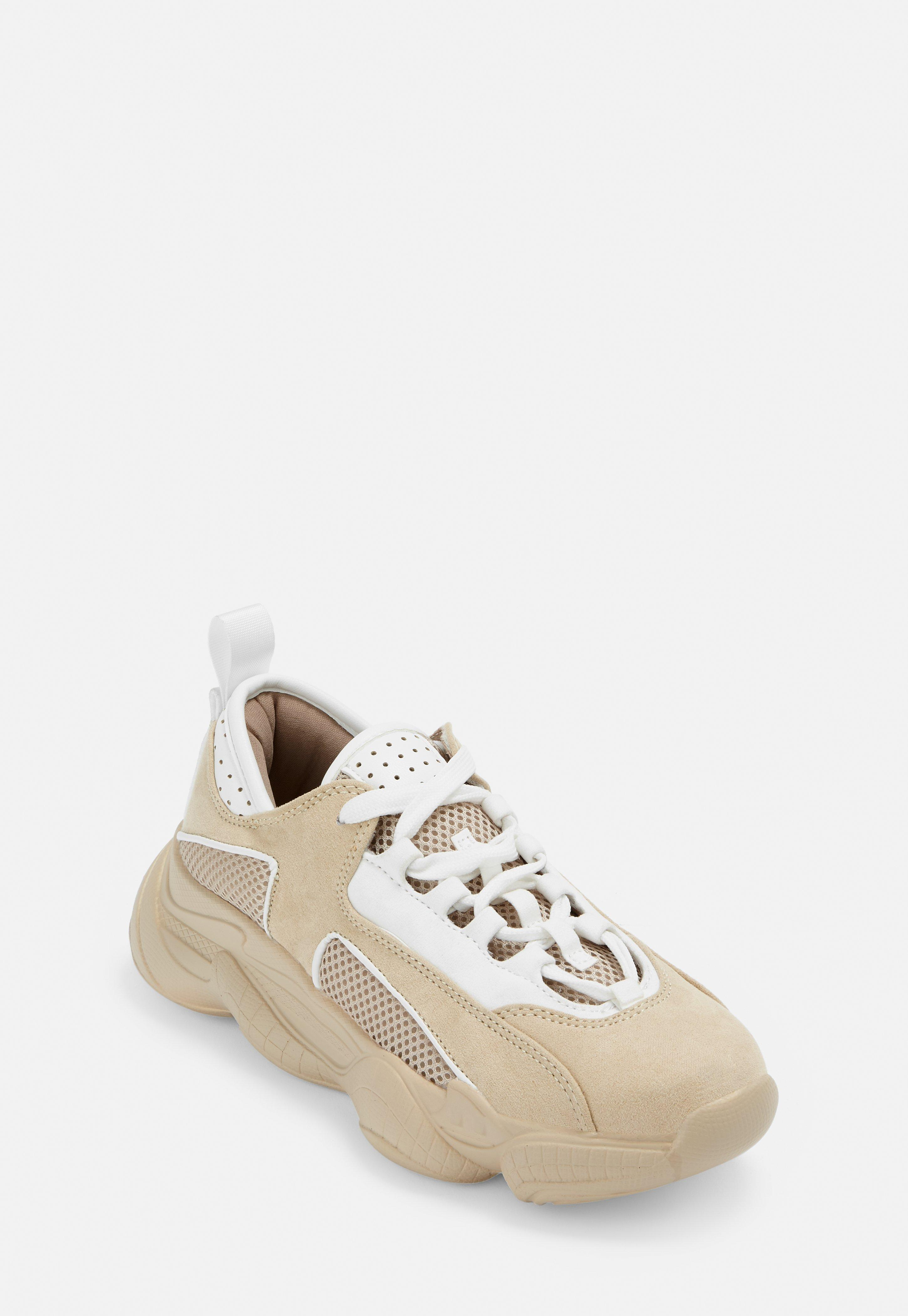969bea705 Nude Faux Suede Triangle Panel Chunky Trainers | Missguided