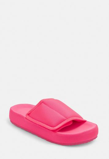 Neon Pink Padded Canvas Sliders Missguided Ireland