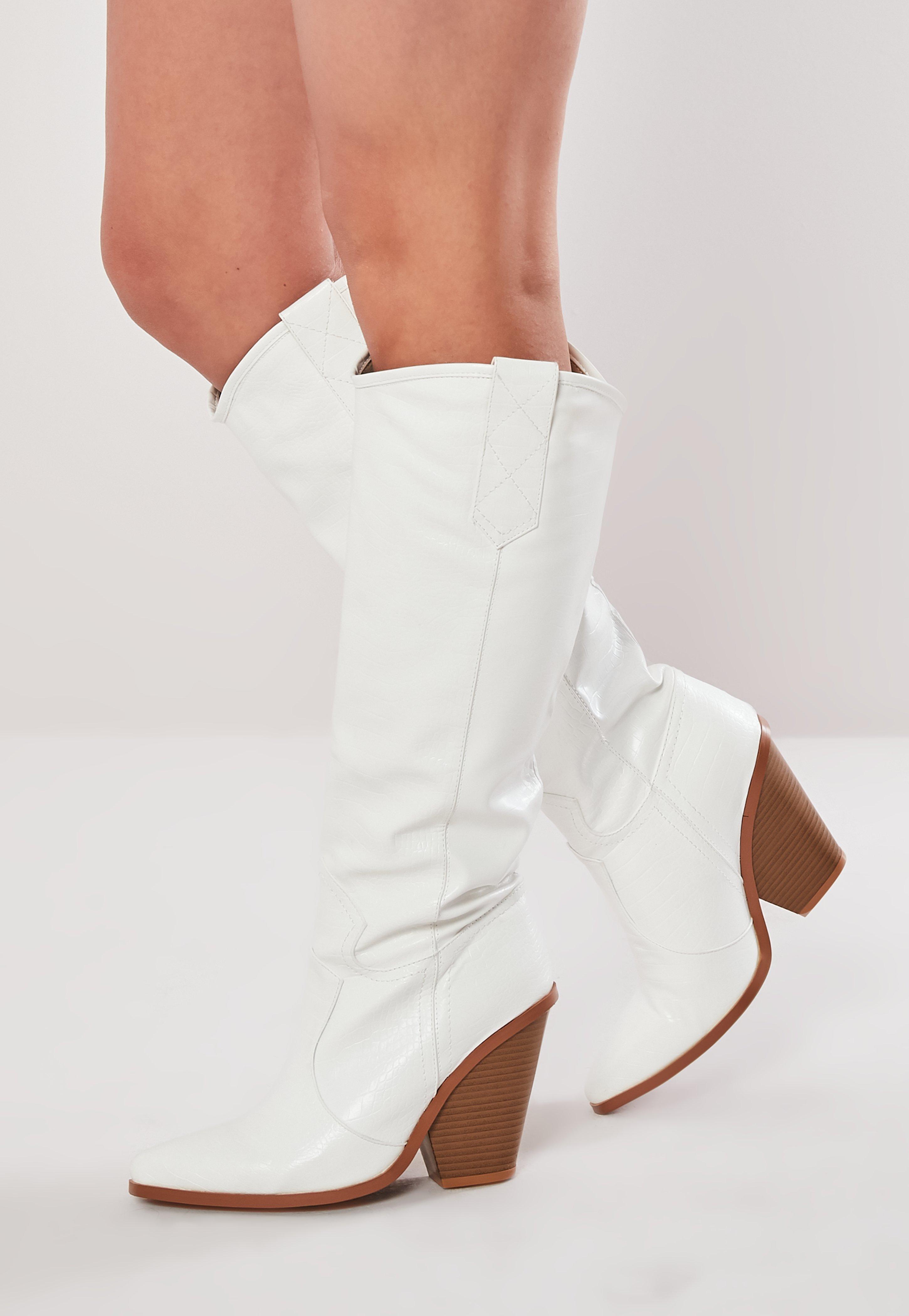 6d75bb27d0b White Calf Height Western Cowboy Boots