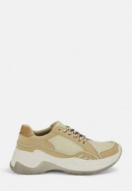 Cieliste wi?zane buty sportowe z brokatow? podeszw?