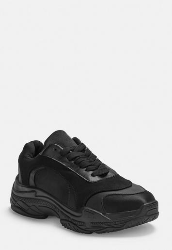 Black Satin Panel Chunky Trainers by Missguided