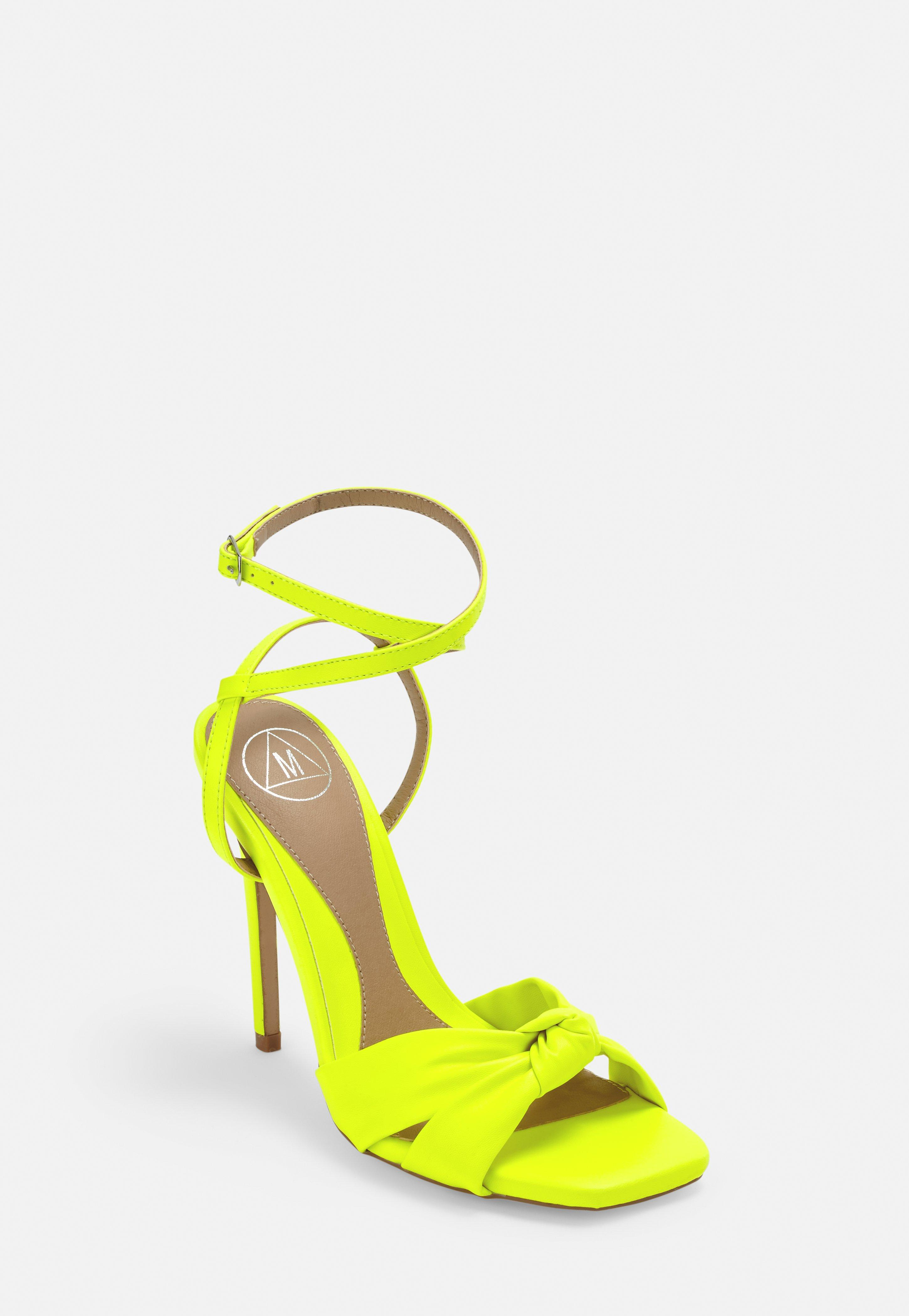 best prices watch nice cheap Neon Yellow Knot Front Strappy Heels