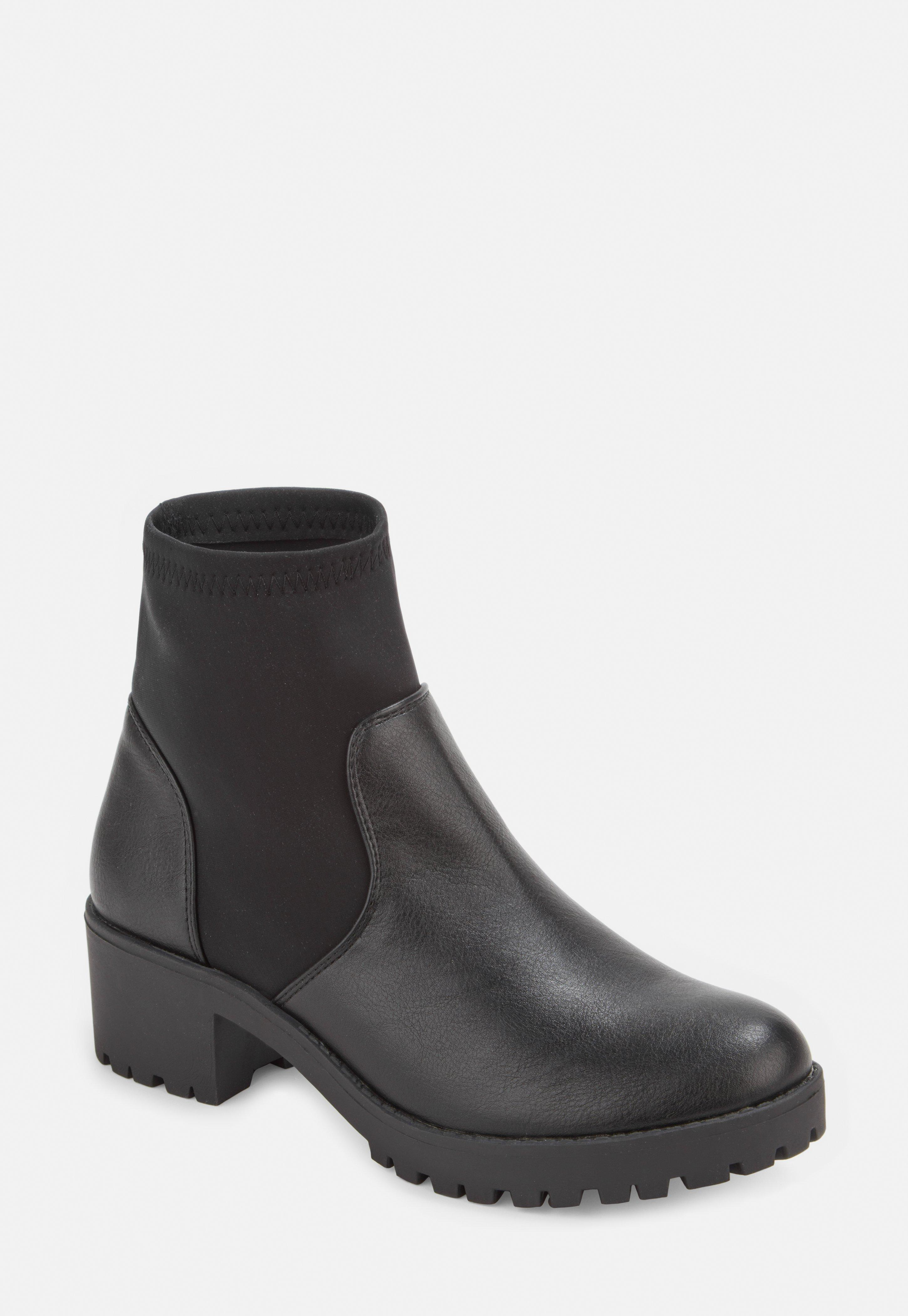 f58c865ba5c Black Chunky Cleated Sole Sock Ankle Boots