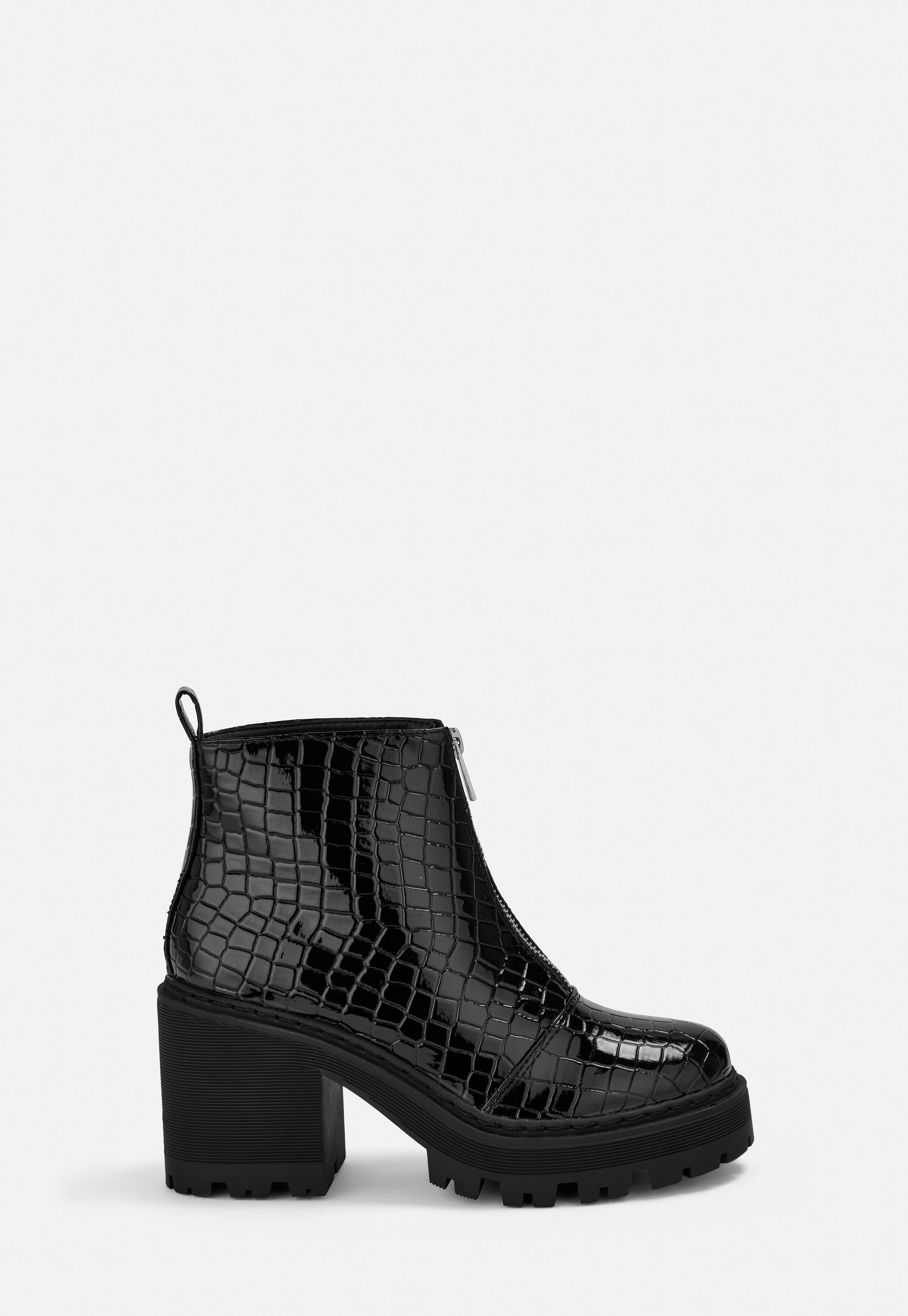 30768209f58 Black Croc Texture Chunky Heeled Ankle Boots