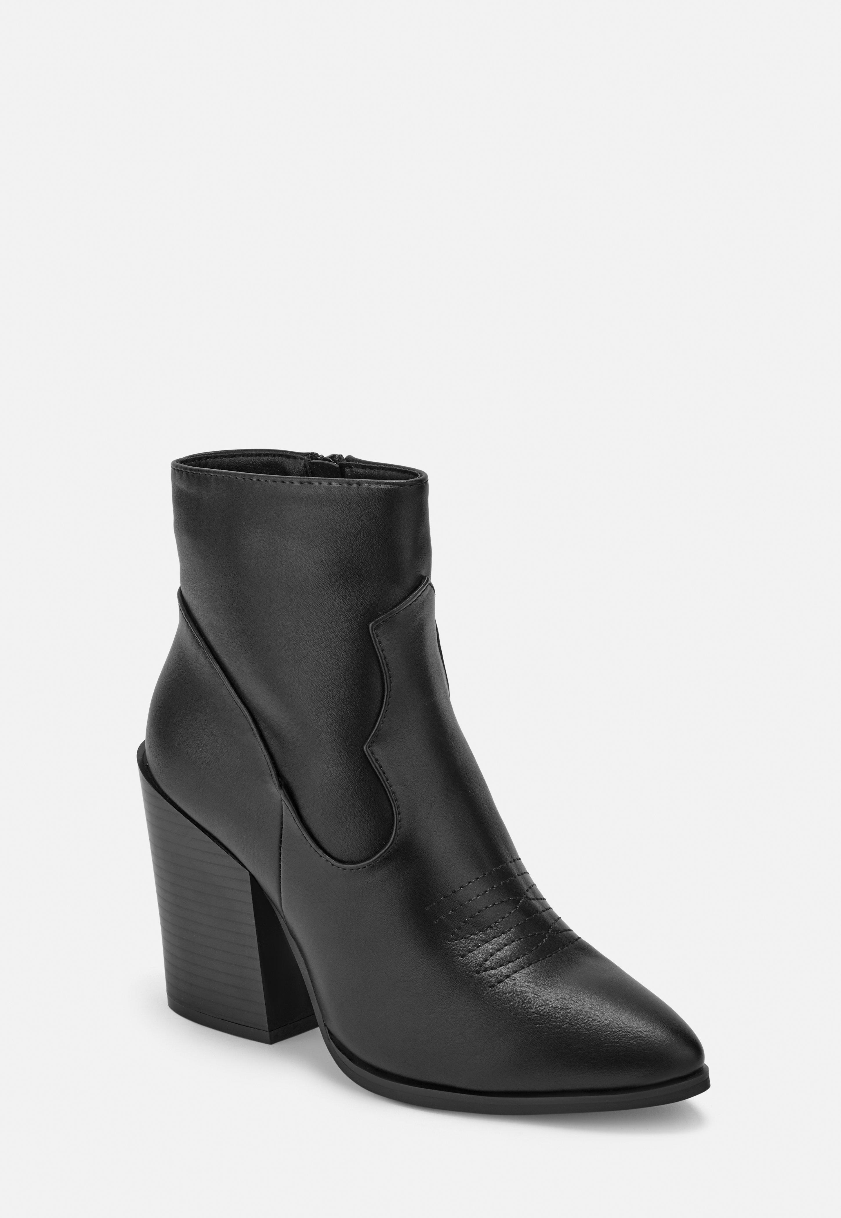39543075855 Black Feature Heel Western Ankle Boots