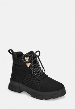 Black Lace Up Hiking Detail Chunky Sneakers