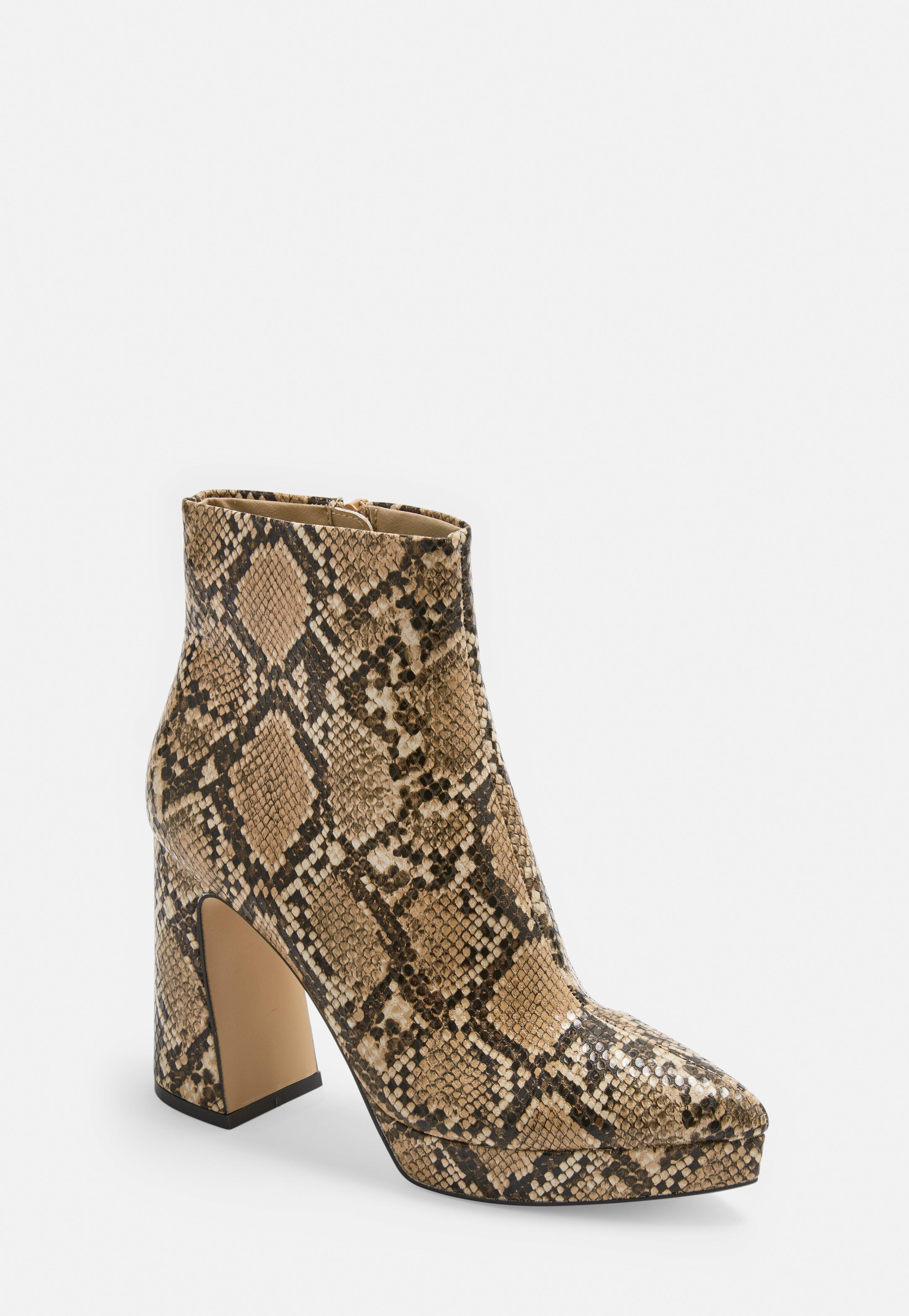 cec629d8669 Brown Faux Snake Pointed Toe Patent Ankle Boots