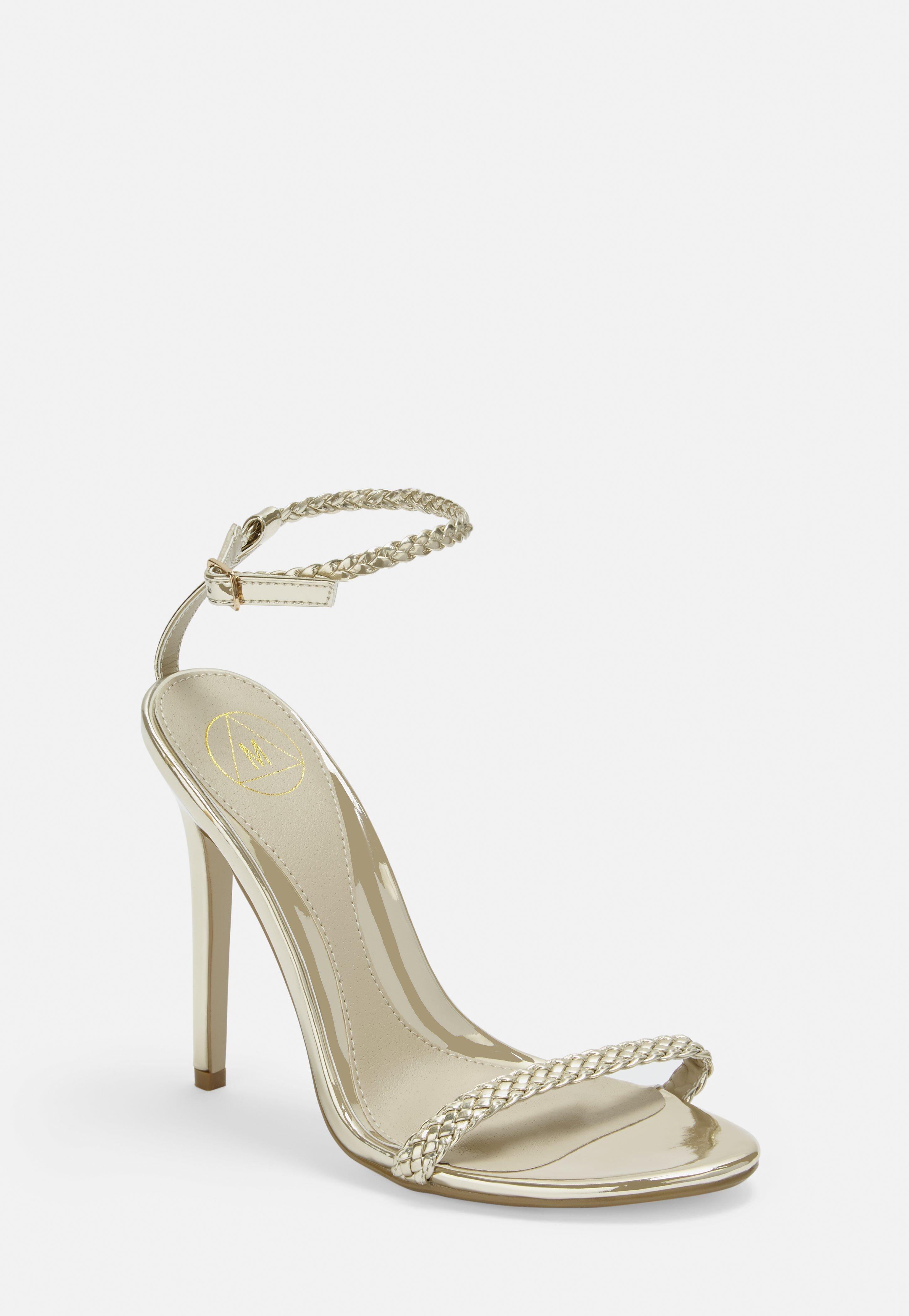 c672ee40524 Shoptagr   Gold Plaited Detail Barely There Heels by Missguided