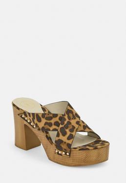 Коричневые сабо на каблуке с леопардовым принтом