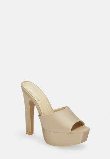 Missguided Champagne Satin Square Toe Platform Heels