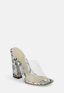 f7a649d3b4bd Clear Ankle Buckle Pumps · Gray Snake Print Flared Heel Transparent Mules