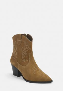 Tan Real Suede Western Ankle Boots