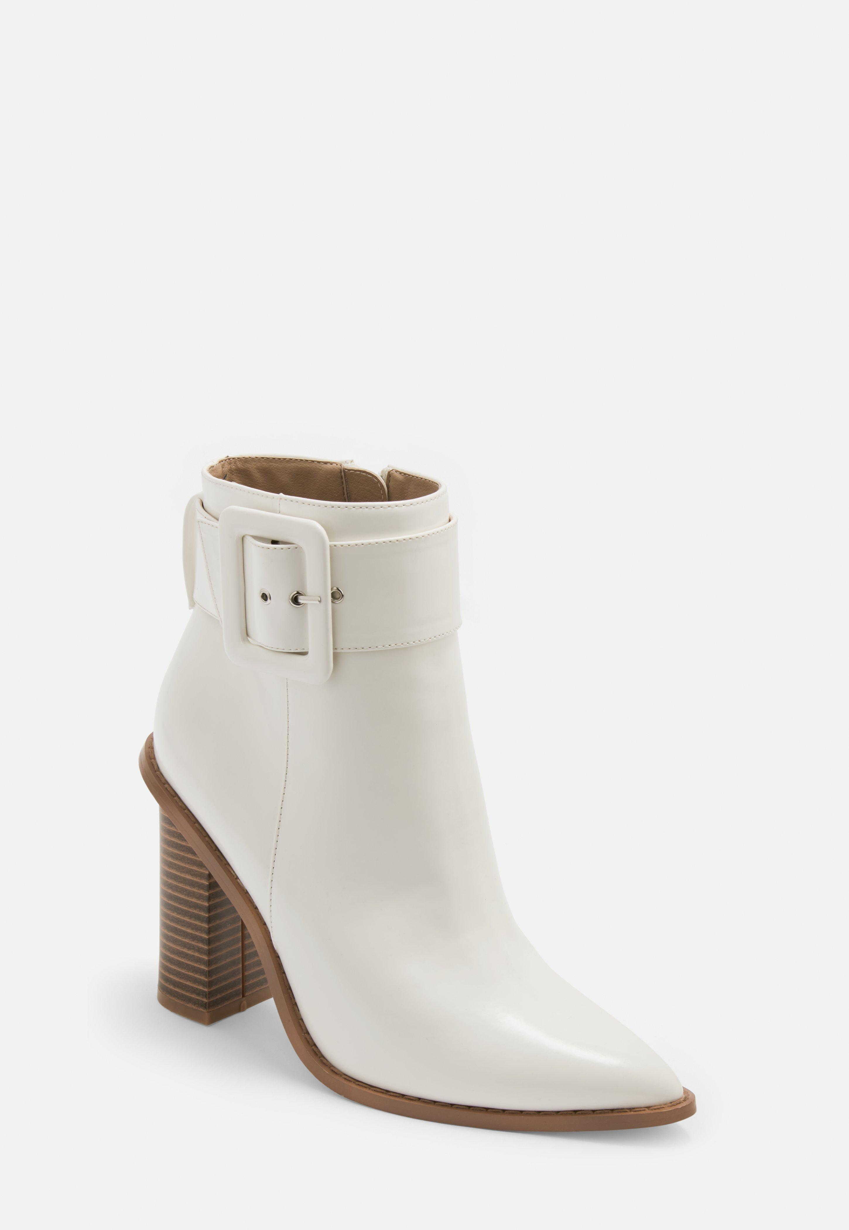 902882b3f0e White Buckle Block Heel Pointed Ankle Boots