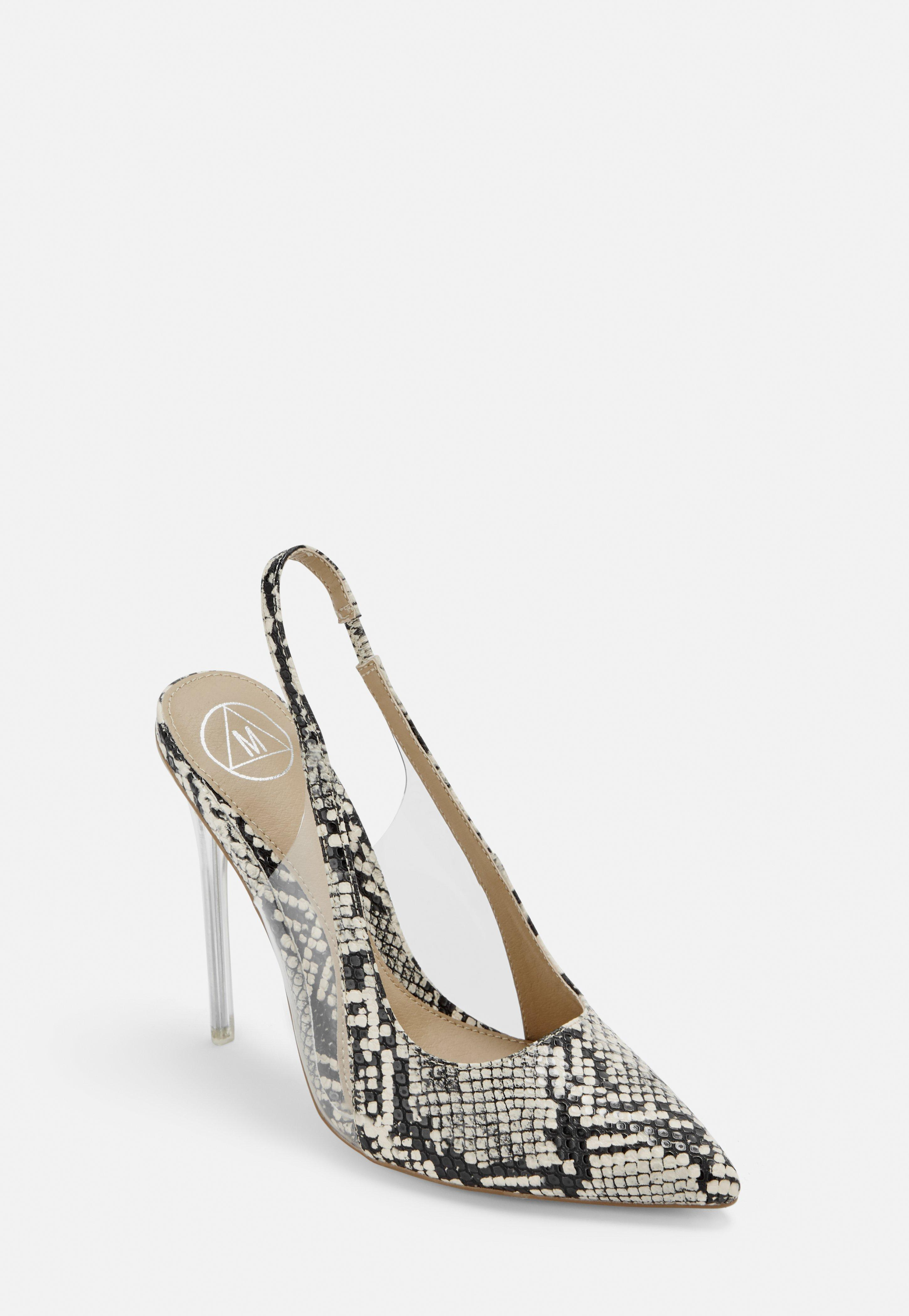 8ba609d9486fd Beige Snake Print Clear Sling Back Court Shoes