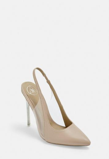 Nude Clear Sling Back Court Shoes by Missguided