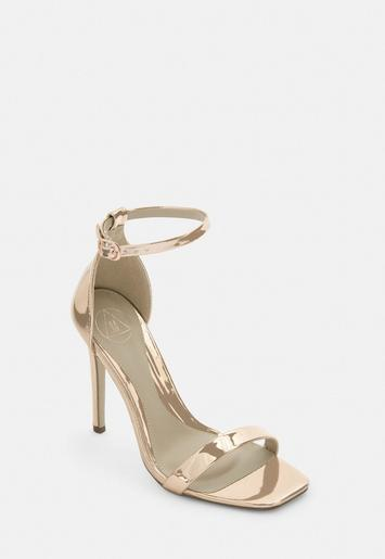 Rose Gold Wide Fit Barely There Heels by Missguided