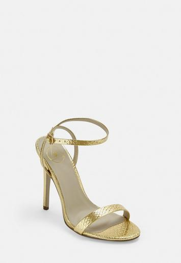 Gold Croc Barely There Heels by Missguided