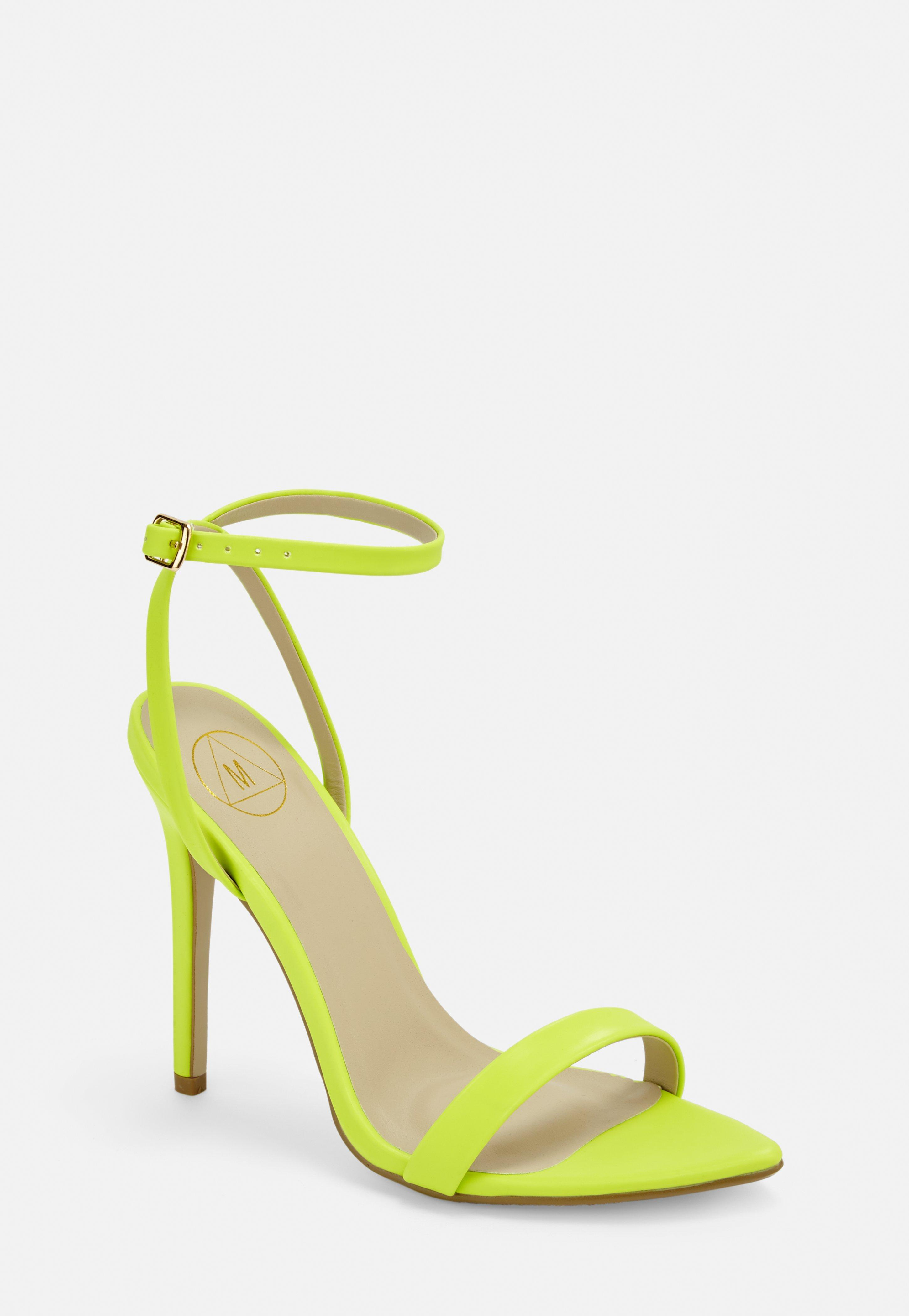 Neon Green Pointed Toe Barely There Heels by Missguided