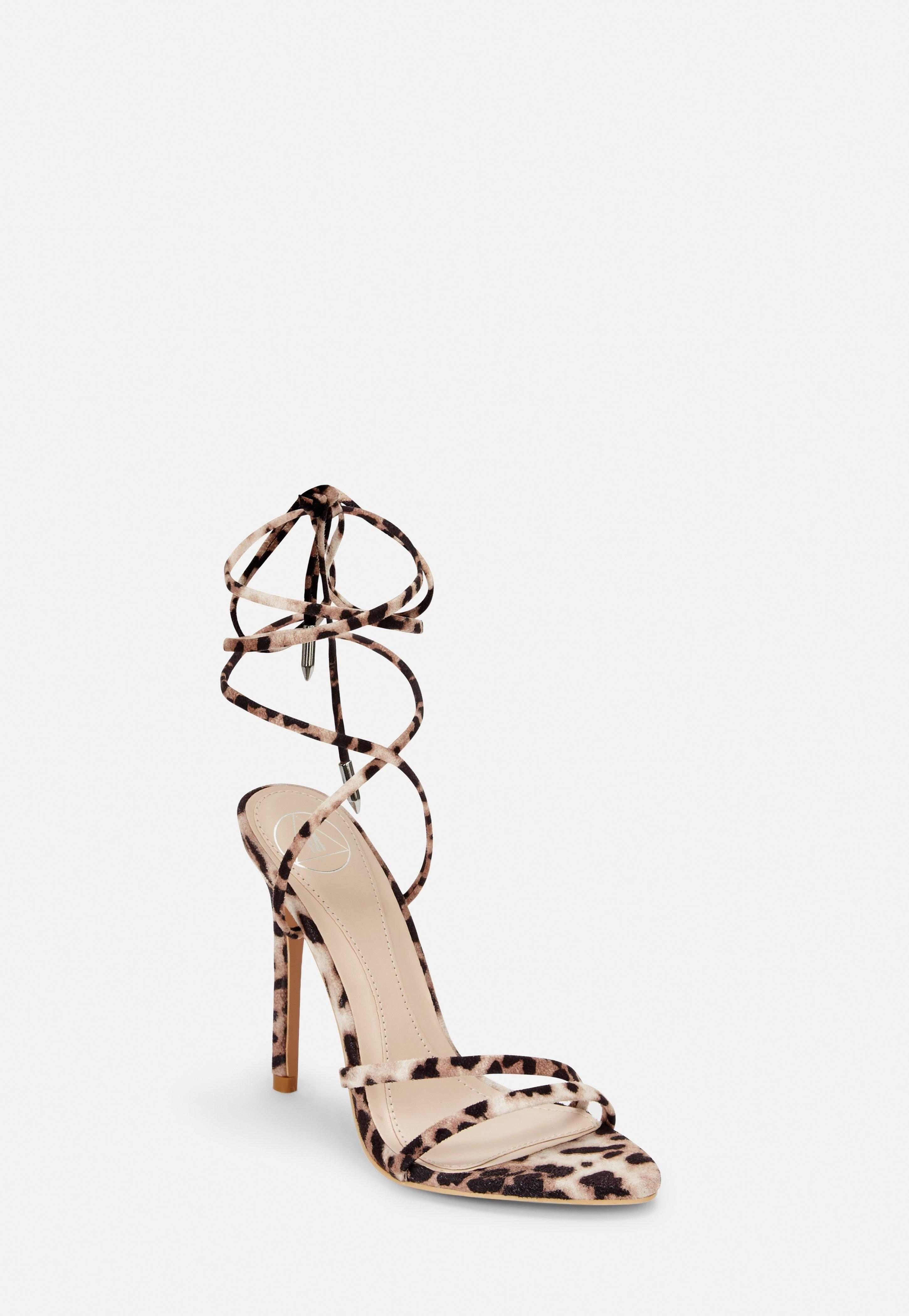 ed1faa2faea Leopard Pointed Toe Lace Up Barely There Heels