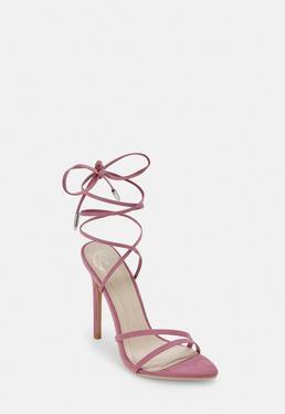 Сиреневый острый носок на шнуровке