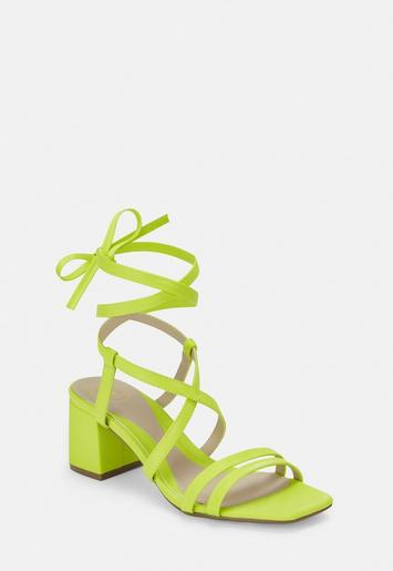 Lime Two Strap Lace Up Mid Heel Sandals by Missguided