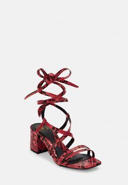 Красная змея с двумя ремешками на шнуровке сандалии на высоком каблуке