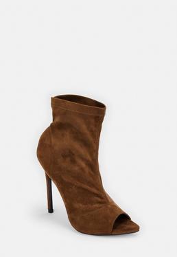 642954a29b65d Black Faux Suede Peep Toe Ankle Boots · Taupe Faux Suede Pointed Peep Toe Ankle  Boots